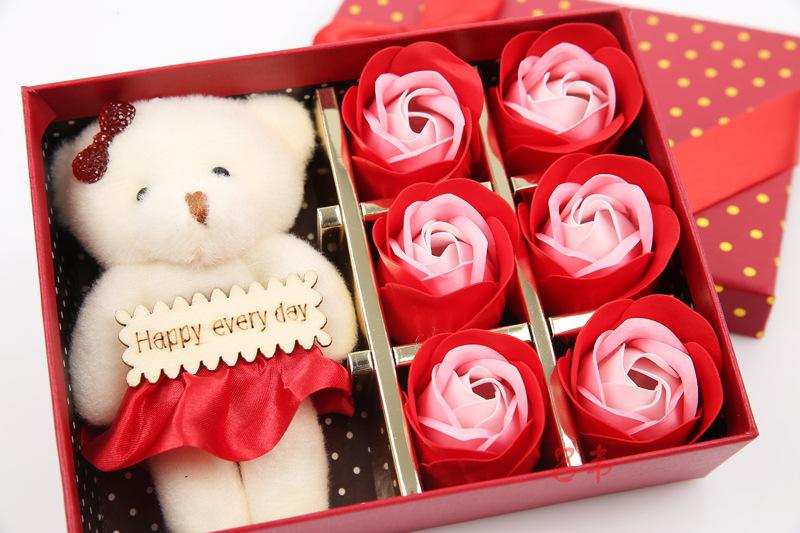 香皂玫瑰花肥皂花小熊