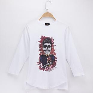 2017儿童长袖T恤 骷髅手绘插画印花纯棉中长宽松男女童打底衫上衣