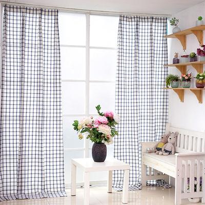 简约现代红蓝色格子棉布定制美式乡村客厅儿卧室飘窗北欧成品窗帘