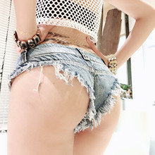 Ultra Short Hot Pants Girl Show Buttock Triangle T-Pants Ultra Low Walking Night Club Gibby Anchor Shorts Student Hole Jeans