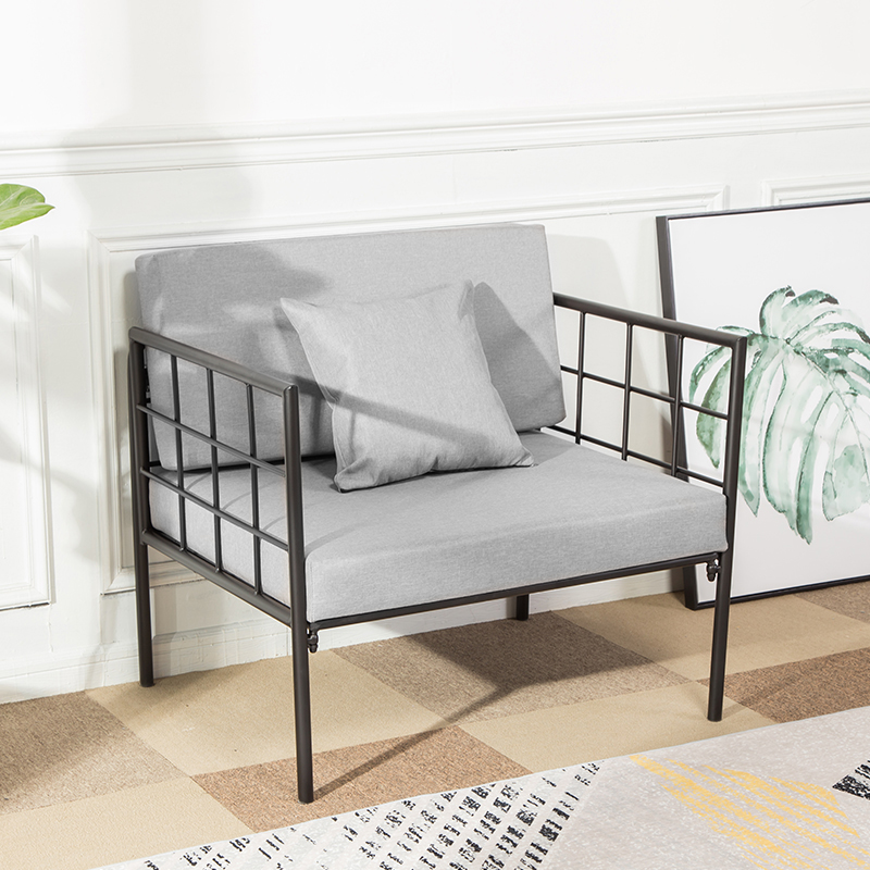 LOFT美式复古定制工业风家具铁艺沙发椅布艺工作室双人组合创意
