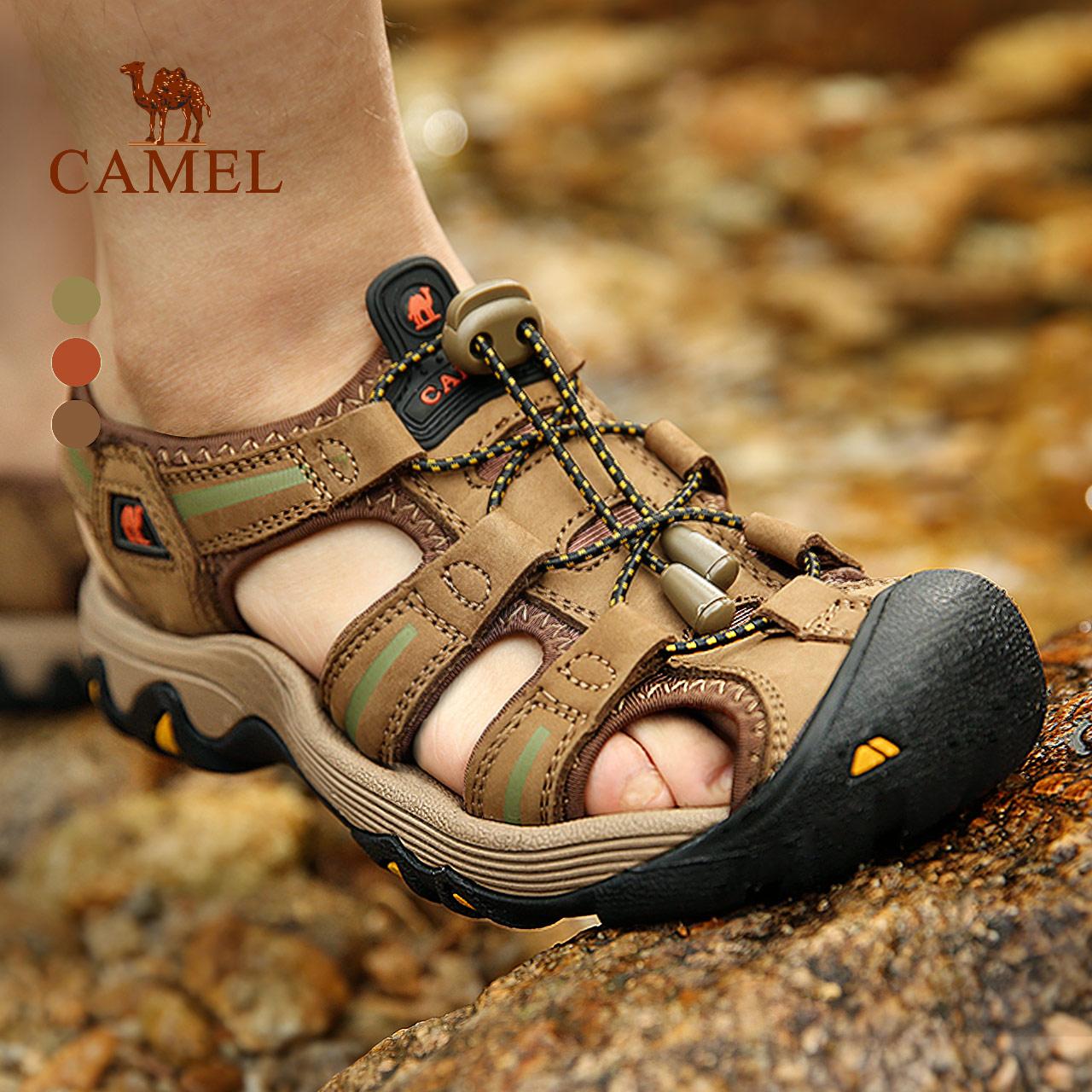 駱駝戶外沙灘鞋春夏季日常休閑涼鞋 男女款涼鞋 頭層牛皮防撞正品