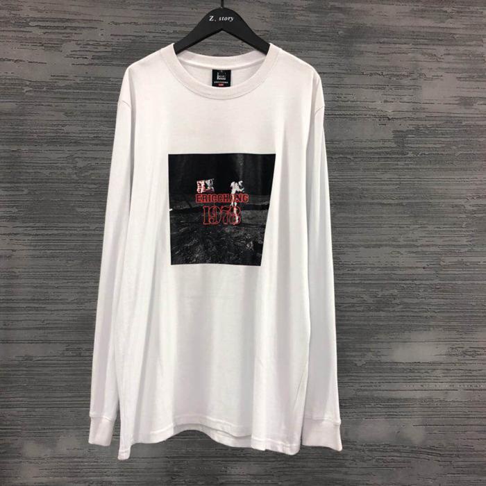 东大门韩国代购男装实拍贴画字母图案长袖T恤衫舒适亲肤宽松上衣