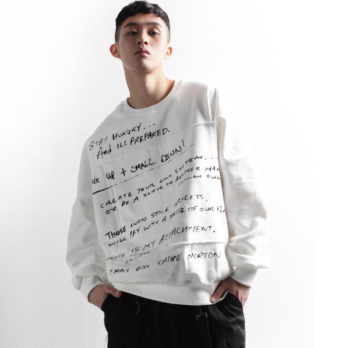 东大门韩国男装代购创意时尚补丁密集英文字母宽松圆领套头卫衣潮