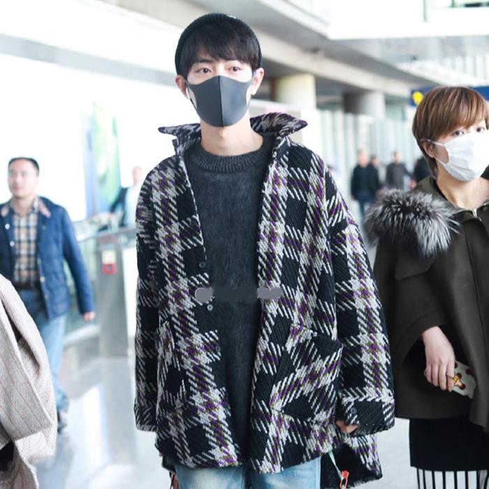 韩国代购东大门男装肖战同款格子外套情侣装加厚over size轮廓型