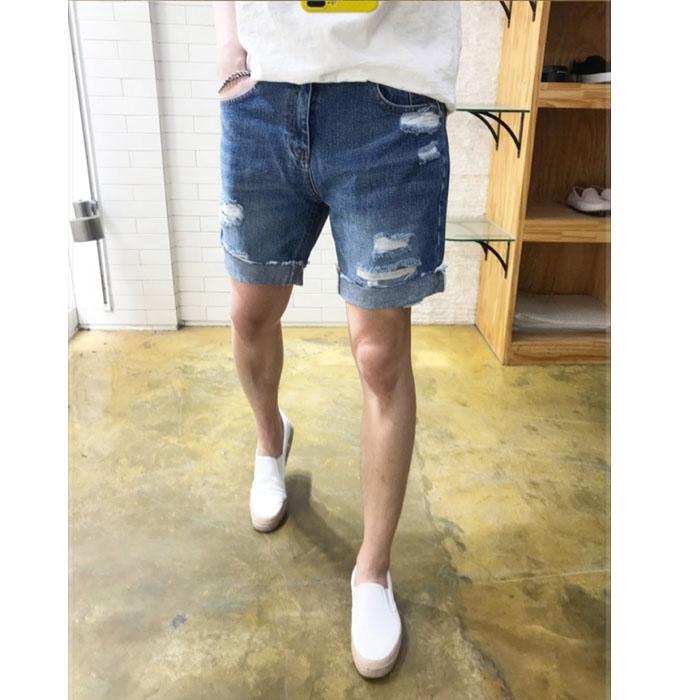 东大门韩国男装代购夏装卷边破洞牛仔裤短裤男裤乞丐裤19新款