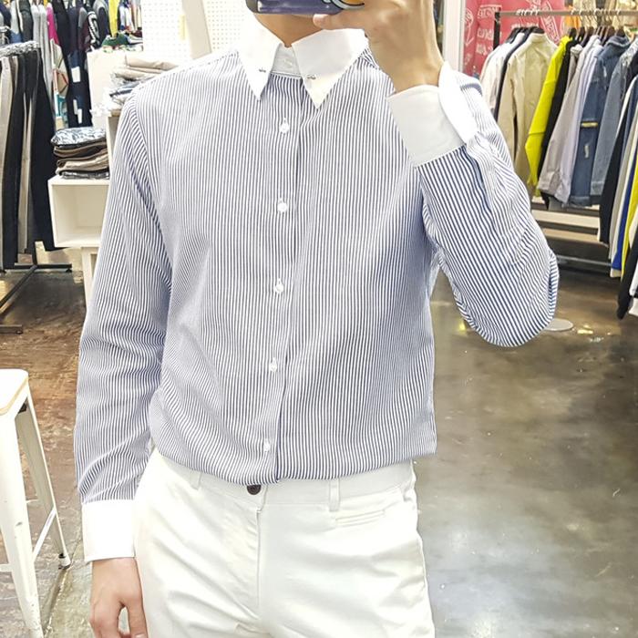 东大门韩国男装代购雅痞竖条纹撞色宽松方领春装青年衬衫长袖衬衣