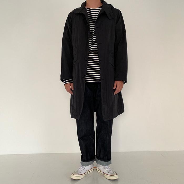 东大门韩国男装代购实拍防风中长款连帽挡风休闲风衣外套插肩袖