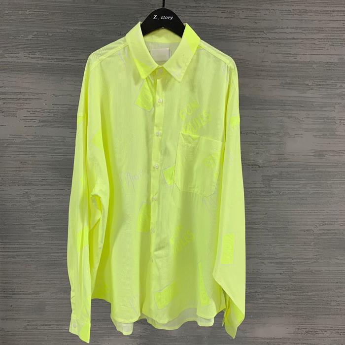 东大门韩国男装代购荧光色时尚英文秀款宽松阔版薄款衬衫长袖衬衣