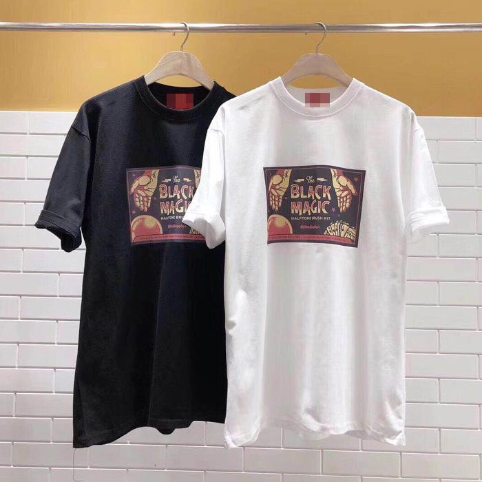 东大门韩国男装代购设计师秀款个性黑魔法印花宽松短袖T恤上衣夏