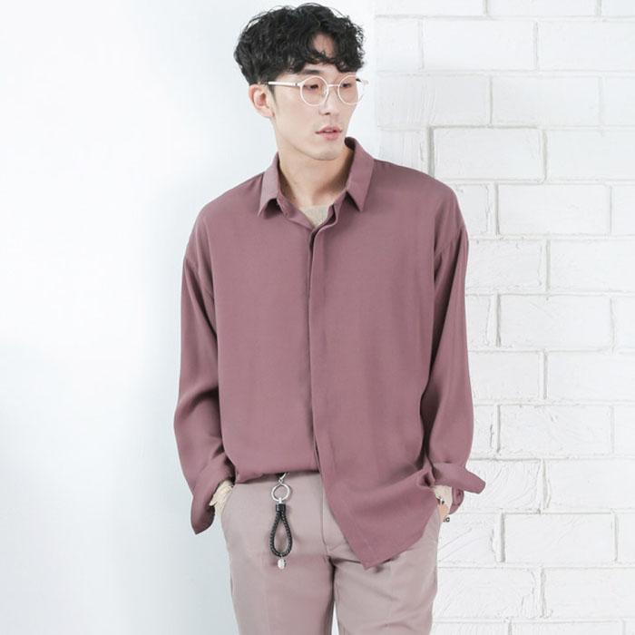 韩国代购男装实拍东大门方领宽松长袖衬衫陈立农同款18新品夏装
