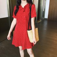 只小萌 3月18日10:00 AM 新品上新樱桃红色雪花连衣裙 M91L662
