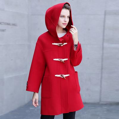 2016冬季新款连帽宽松减龄牛角扣双面羊毛呢大衣女式外套YJF9117