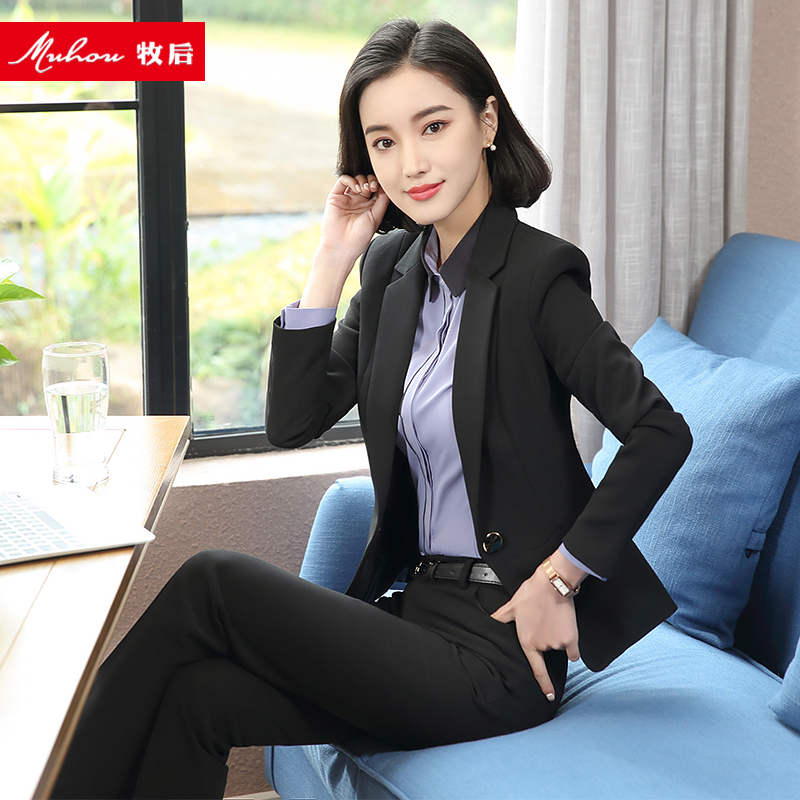 Suit suit female professional dress interview dress black temperament overalls casual fashion do Office