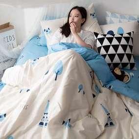 宛庭全棉卡通四件套床上用品床单被套简约纯棉1.5m/1.8m床双人