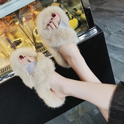 网红拖鞋女夏2018新款韩版时尚毛毛拖鞋秋季外穿平底女生社会鞋子