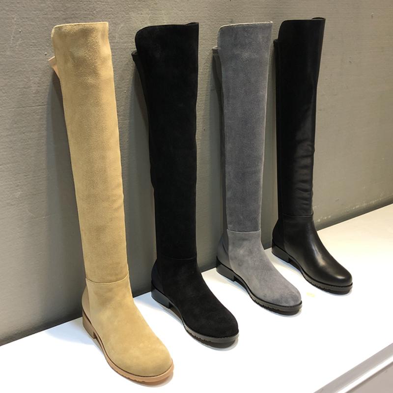 高筒靴平底磨砂皮