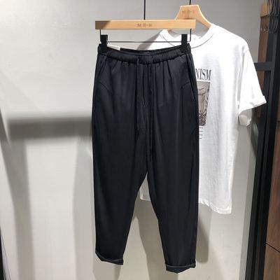 日系夏季新款男士休閑褲銅氨絲九分褲韓版修身顯瘦大碼男褲薄潮流