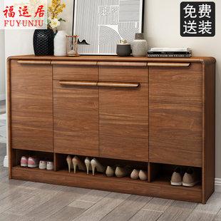 中式实木鞋柜北欧家用储物柜隔断柜门口门厅柜收纳大容量玄关鞋柜