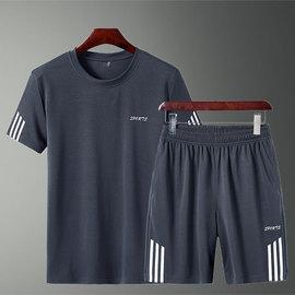 男装夏天运动套装男短裤两件套男士短袖t恤运动服宽松休闲裤套装图片