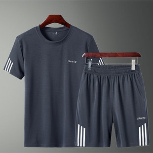 男装夏天运动套装男短裤两件套男士短袖t恤运动服宽?#23578;?#38386;裤套装