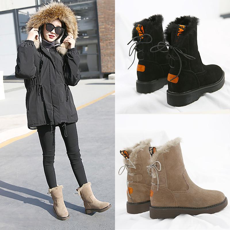雪地靴女2018新款韩版百搭加绒厚底中筒马丁靴短筒女靴冬季棉鞋女
