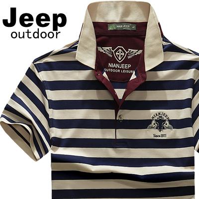 夏季新款战地jeep旗舰店官方正品短袖t恤男翻领纯棉大码男装半袖