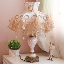 欧式创意卧室美式床头灯温馨韩式粉色陶瓷婚庆结婚公主台灯婚房