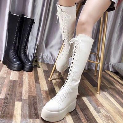 欧洲站女靴2018秋冬新品真皮高筒马丁靴系带松糕厚底内增高女靴子