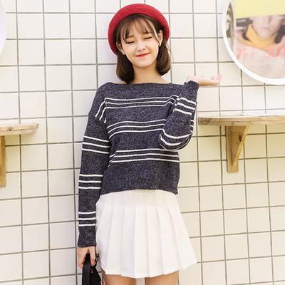 台炫(服饰)秋冬长袖上衣宽松短款休闲条纹兔毛针织衫女套头毛衣