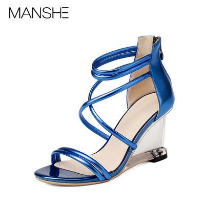 高端品MANSHE凉鞋女士夏季2018新款露趾高跟鞋真皮坡跟欧美低帮鞋