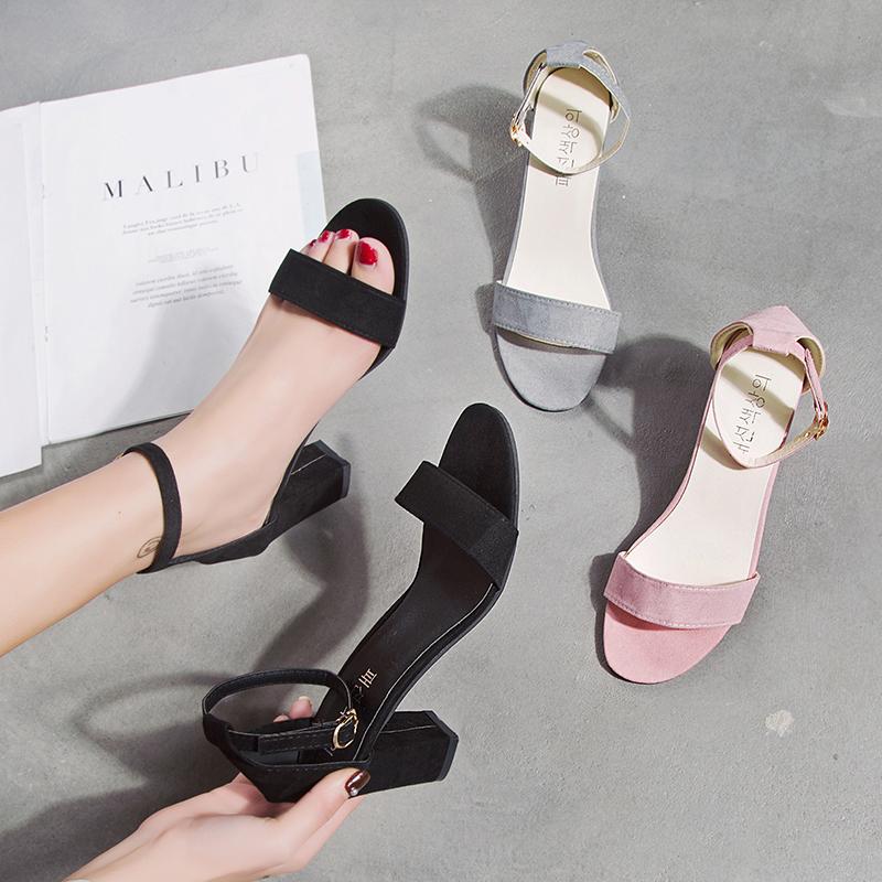 罗马凉鞋女仙女风温柔鞋夏季2019新款百搭晚晚鞋一字扣粗跟高跟鞋