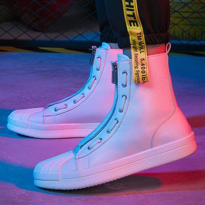 玛萨蒂品牌男款潮流新韩版拉链运动男士休闲高帮板鞋透气街拍男鞋