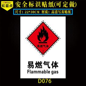 易燃气体标识牌厂区罐体气瓶安全警示标示贴纸厂区指示标志牌定做