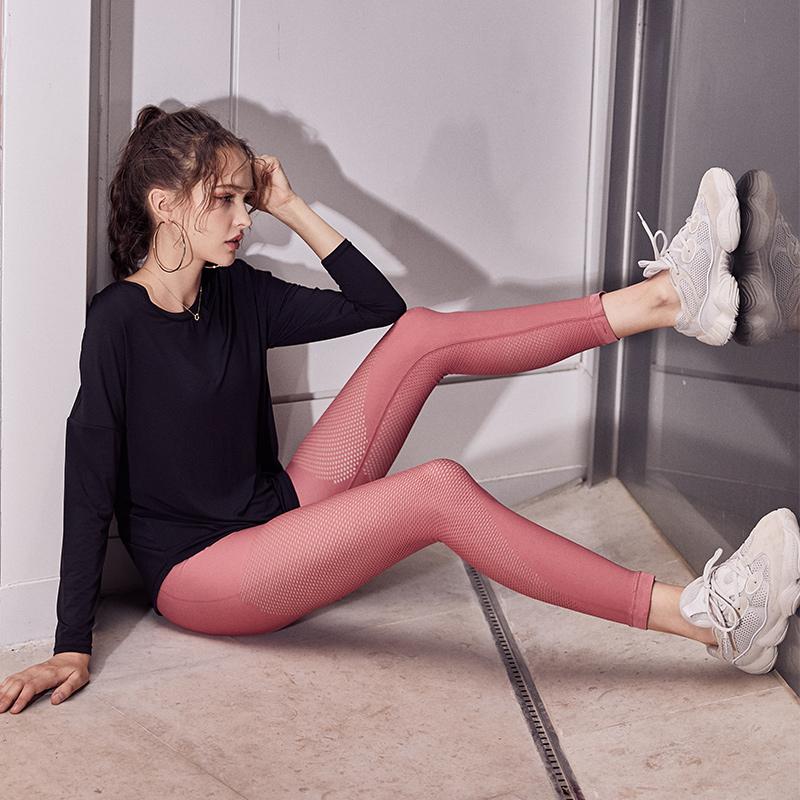瑜伽裤女紧身高腰镂空透气跑步训练速干弹力提臀显瘦健身运动长裤