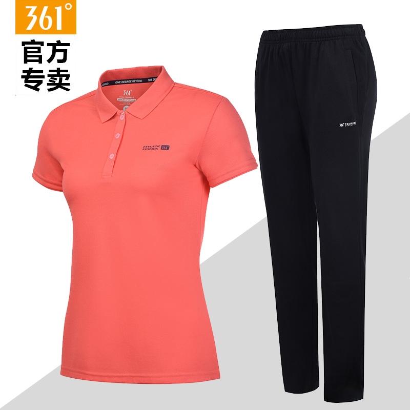 361度女装运动套装女夏季新款运动服361翻领T恤长裤女休闲短袖女