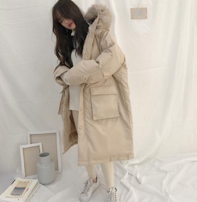 YOYO 韩国冬季新款 狐狸毛领羽绒棉棉衣 长款宽松保暖大衣外套 女