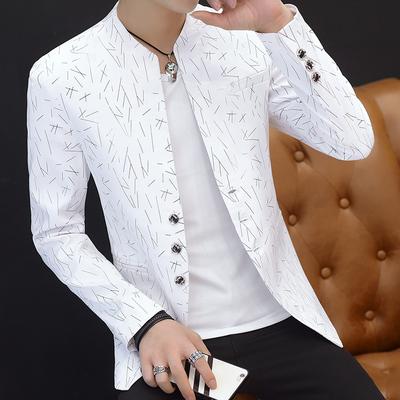 男士印花小西装男韩版修身立领中山装休闲西服薄外套青年帅气褂子