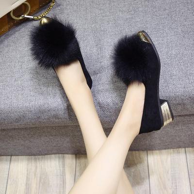 女鞋单鞋中跟粗跟
