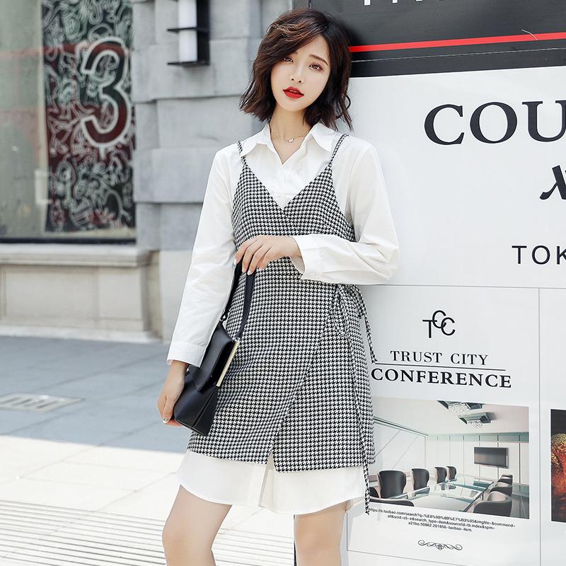 2019新款女装裙子文艺气质套裙时尚格子短裙长袖A字裙连衣裙