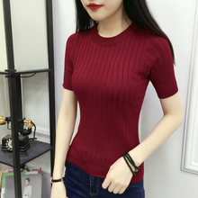 Spring and summer women's wear Korean version of round collar, 100 sets of pit-striped short-sleeved jacket knitted sweater thin pure color half-sleeve bottom shirt tide