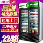 乐创商用冰箱饮料饮品保鲜柜冷冻展示柜玻璃陈列柜双门冷藏柜立式