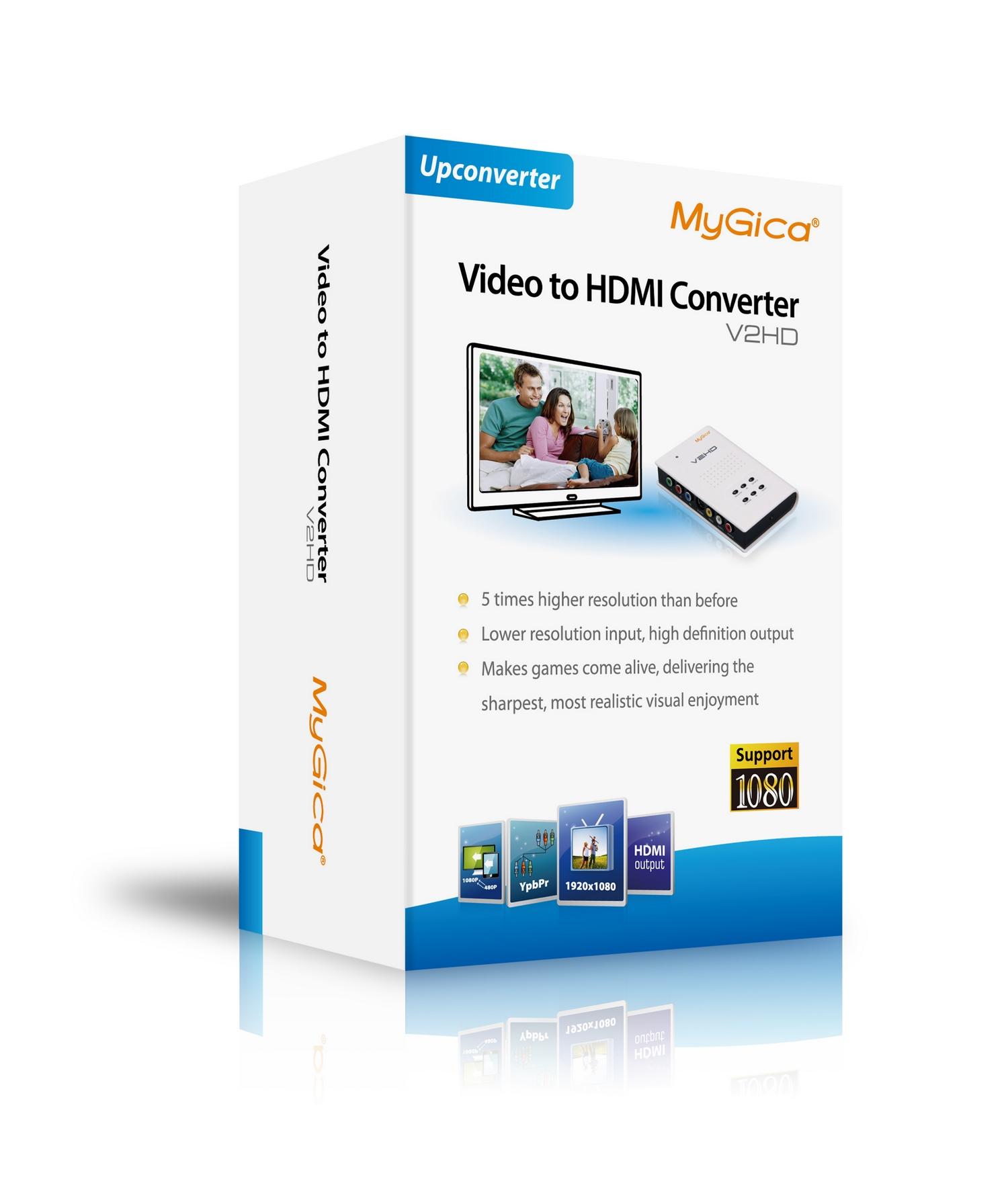 全新 美如画MyGica V2HD AV转HDMI转换器CBVS S端子转HDMI转换器