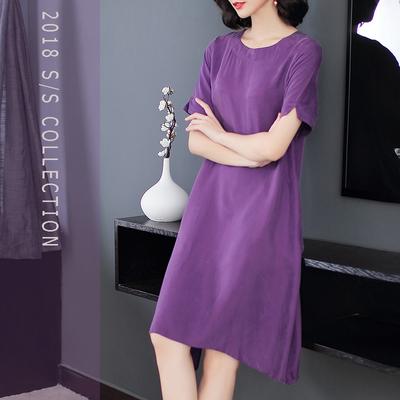 大码真重磅铜氨丝红色连衣裙2018新款夏显瘦中长款紫色名媛妈妈裙