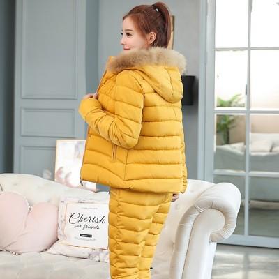 2018新款冬季套装女装韩版时尚短款棉衣女两件套修身加厚羽绒棉服