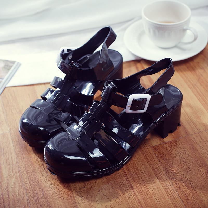 夏女凉鞋透明高跟水晶鞋果冻鞋塑料凉鞋包头粗跟塑胶雨鞋罗马凉鞋