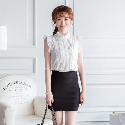 2017夏装无袖雪纺衫衬衫短袖木耳边上衣韩版女装立领修身短款小衫