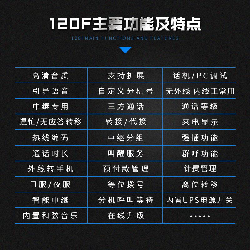 申瓯HJK120F酒店集团总机语音程控电话交换机4/8外线进16--120出