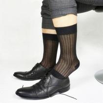 男士黑色条纹欧美商务姓感中筒锦纶丝袜柔软老式男士丝袜织调
