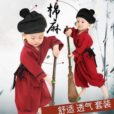 幼儿童小孩古装汉服小药童书童表演服男女少儿古代农民店小二服装